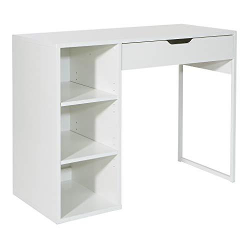OSP Home Furnishings Ravel 40-Inch Wide Writing Desk, White