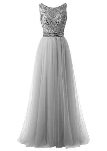 Callmelady Hoher Hals Tüll Abendkleider Lang Elegant für Hochzeit Ballkleider Damen mit Schlüsselloch Zurück (Silber Grau, EU36)