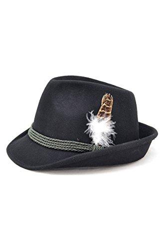 Bavariashop Trachtenhut Maxl schwarz mit Feder, Bayerischer Hut aus 100% Wollfilz Größe 58