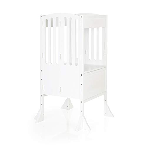 Guidecraft Contemporary Kitchen Helper Stool - White W/Keeper and Non-Slip Mat: Adjustable Height Wooden Baking Tower, Folding Step Stool for Toddlers, Little Kids Learning Furniture