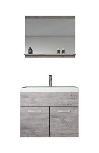 Badplaats B.V. Badezimmer Badmöbel Set Montreal 02 60cm Waschbecken Grau - Unterschrank Waschtisch Spiegel Möbel