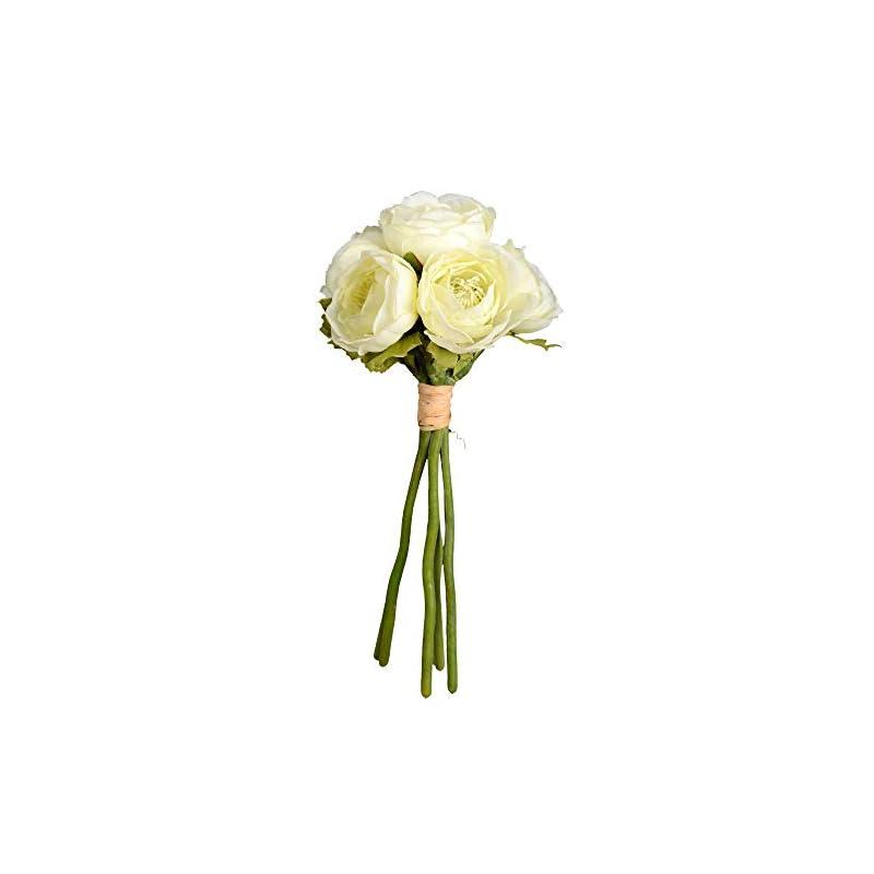 "silk flower arrangements vickerman mini ranunculus spray 1 artificial-flowers, 9"", white, 3 piece"
