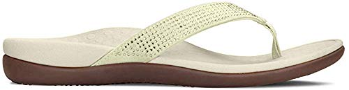 Vionic Women's Tide Rhinestones Toe-Post Sandal - Ladies Flip-Flop with Concealed Orthotic Arch Support Champagne 9 M US