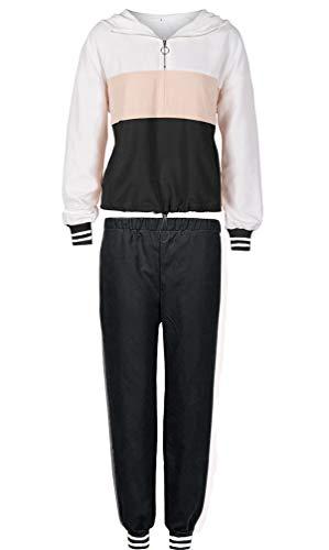 Sunnykud - Traje de deporte para mujer, 2 unidades, traje de jogging con capucha + pantalones largos, ropa de deporte, color de costuras, sudadera con capucha y cremallera Negro\r\n XXL