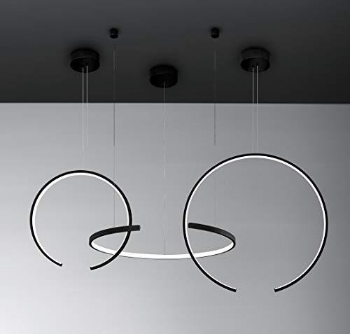 Vivida Olympic - Lampada a Led Sospensione, Luce Pendante Design Moderno a 3 Anelli 100W, Composizione Nera
