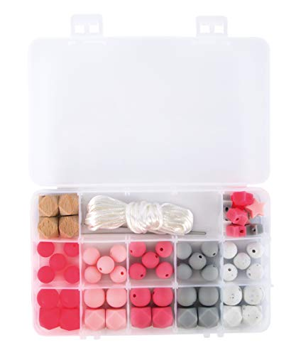 Rayher 14860258 Silikonperlen sortiert, rosa, hellgrau, weiß, Schweiß- und speichelecht, Box mit 61 Teilen, inklusiv Fädelschnur, Schnullerketten und Greiflinge für Babys selber machen