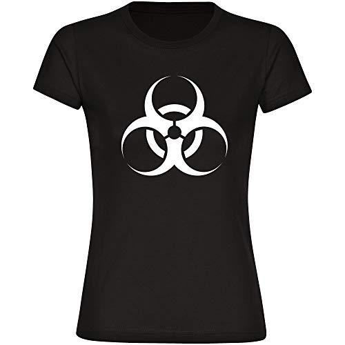 Multifanshop Maglietta da Donna con Simbolo di Biohazard Virus, Colore Nero, Taglia S - 3XL - Maglietta coronaviren covid 19 covid-19 Virus Quarantena Nero L