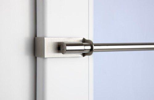 Klemmstange Easy Fix edelstahl-optik ausziehbar für Fenstergardinen ohne Bohren (75 cm - 125 cm)