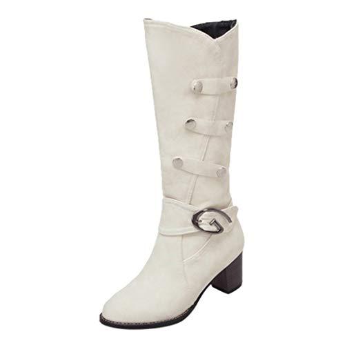 LuckyGirls Knee High Boots Women's Fashion Scrub Sexy High Heel Hiver Warm Snow Boots Chaussure