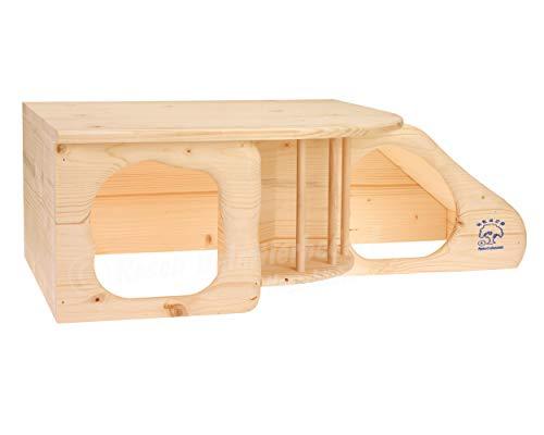 """Resch Nr11 """"Nagerhöhle XL"""" naturbelassenes Massivholz aus Fichte / mit Treppe zur Liegeterasse, integrierter Heuraufe, großen Eingängen und gerundeten Ecken - 2"""