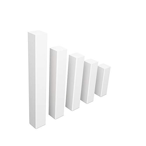 Universal Fussleisten Eckklotz Eckblock Ecke Eckturm MDF WEISS [SPARPAKET] (Eckturm ECONOMY (ohne Fase), 65 mm / 40 Stück)
