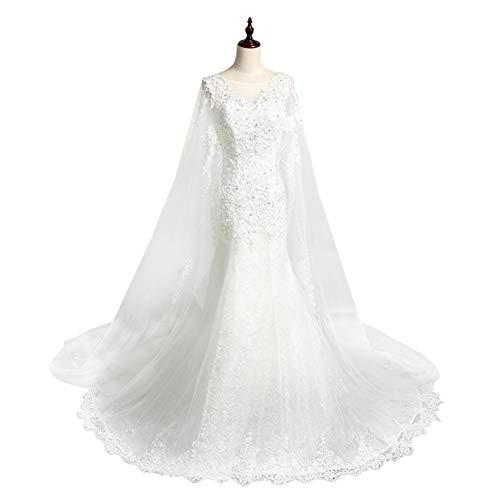 Sijux Frauen V-Ausschnitt Sleeveless Elegant A Line Chiffon Braut Brautkleider Fishtail Abendkleid,S