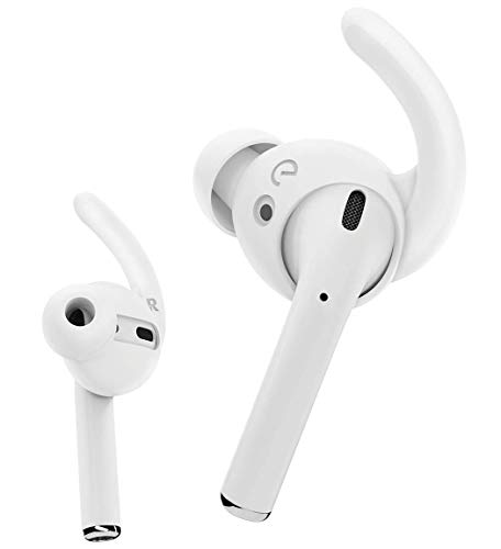 EarBuddyz Ultra Ear Hooks and Covers Compatible with Apple AirPods 1 & AirPods 2 or EarPods Featuring Bass Enhancement Technology (Medium, White)