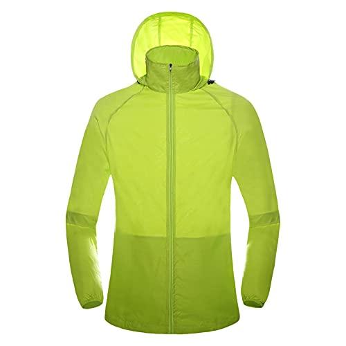 Briskorry Veste de pluie légère et respirante pour homme et femme, unisexe, fine veste coupe-vent avec capuche, veste de sport coupe-vent avec cordon de serrage réglable, vert, S