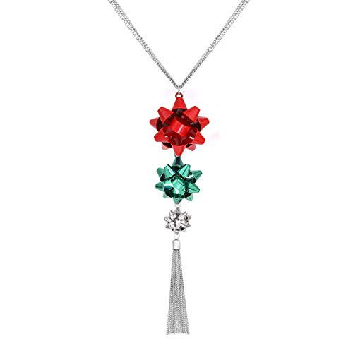 VOGUEKNOCK Gift Bow Necklace Tassel Pedant Jewelry for Christmas Green and Red Bow Pedant (3 bow with tassel(Red,Green,silver))