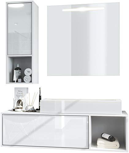 Vladon Badmöbel Komplettset La Costa, Korpus in Weiß matt/Fronten in Weiß Hochglanz, mit Aufsatzwaschbecken und LED Spiegel