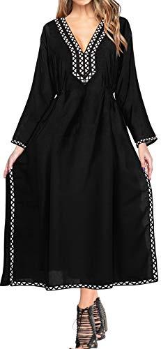 LA LEELA Halloween Costume Kimono de la Playa de baño Bikini Traje de baño de Las Mujeres Encubrir Blusa Halloween Negro_A993