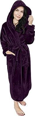 NY Threads Women Fleece Hooded Bathrobe - Plush Long Robe (Large, Plum)