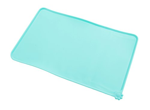 Gefry Pet Food Silicone Bowl Mat FDA Grade Feeding Tray for Cats and Dogs (Green)