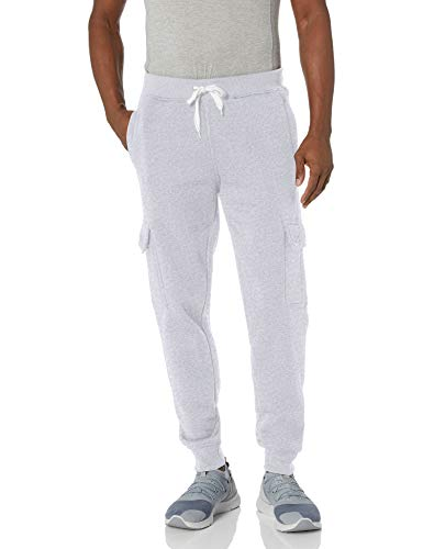 Southpole Men's Active Basic Jogger Fleece Pants, Heather Grey (Cargo), Small