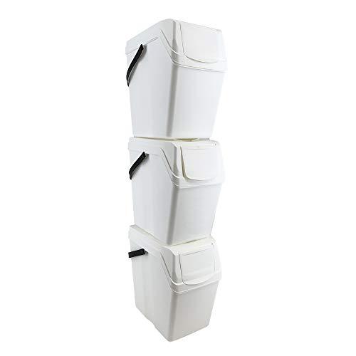 Prosperplast Juego de 3 Cubos de Basura/Reciclaje con Capacidad de 75 litros Total, en Color Blanco, con Asas, 40,2 Prof. x 24 Frontal x 50,5 Altura Cada Cubo en Torre, 113 cms. de Altura