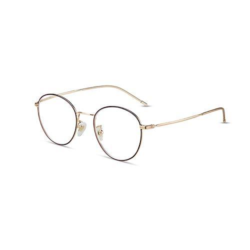 HQMGLASSES Señoras Retro Redondo Anti-Azul Juego de Lectura de Gafas de Lectura, Lente de Resina HD Metal Frame Lector Diopter +1.0 a +3.0,Oro,+2.0