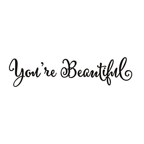 'fablcrew Aufkleber Fenster mit englischen Buchstaben YOU' RE BEAUTIFUL