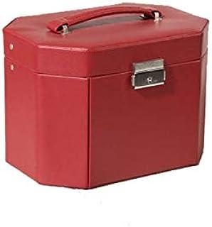 ジュエリーボックス創造的な赤いPUハイエンドジュエリーボックスカスタム多機能リングジュエリーストレージ H02/17 (Color : Red, Size : 26*15*16...