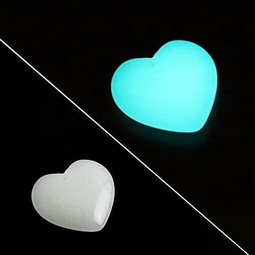 Guijarros de forma de corazón, 20 / 50/30 / 100 / 200pcs Resplandor resplandor resplandor en las rocas solares oscuras, jardín luminoso adoquín grava para pendientes peces tanque acuario al ai