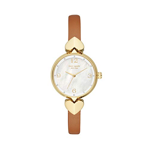 Kate Spade New York Women's Hollis Stainless Steel Quartz Watch with Leather Strap, Brown, 8 (Model: KSW1662)