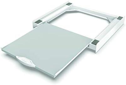Meliconi Base Torre Pro L60 - Kit de sobreposición universal para lavadora y secadora con estante extraíble y correa de seguridad incluida, fabricado en Italia, blanco, M