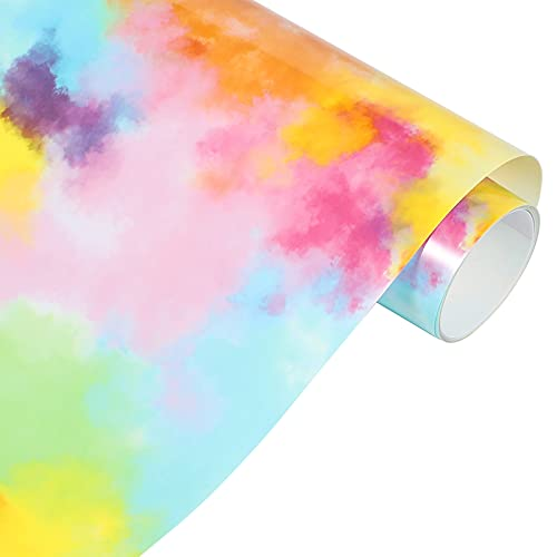 Rainbow HTV Vinyl Tie-Dye Heat Transfer Vinyl 10'x5ft Vinyl Roll for DIY T-Shirts, Fabric and Garment-Blue Yellow Watercolor Clouds Patterned Vinyl