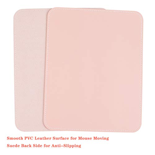 YSAGI 2 Pack Mouse Pads, Ultra Thin Waterproof PVC Leather Mouse Pad,Stitched Edges,Works for Computers, Laptop,All Types of Mouse pad, Office/Home(7.87''×9.84'', 2 Pack,Pink) Photo #2