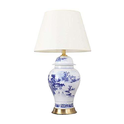 Allamp Norte de Europa Lámpara de mesa, lámpara de mesa de cerámica asiática azul floral florero blanco Campana de sombra for el dormitorio de la sala gama de la lámpara de noche Mesilla de noche de m