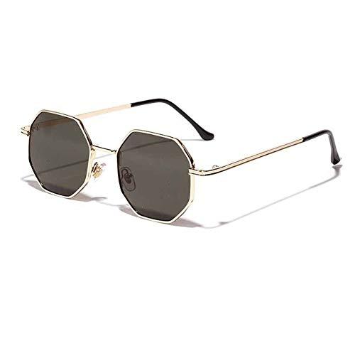 Glqwe klassieke zonnebril, polygon kleine zonnebril vrouwen retro ronde metalen zonnebril mannen Hexagon bril UV400