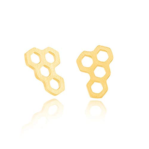 EvesCity Hexagon Honeycomb Bee Hive Stud Earrings