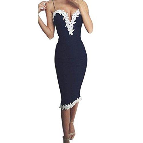 Elecenty Damen V-Ausschnitt Sommerkleid Schulterfrei Abendkleider Spitzekleid Bodycon Partykleid Langes Kleider Frauen Mode Kleid Cocktailkleider (S, Blau)