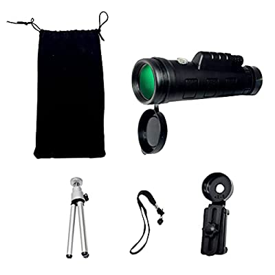 Monocular Telescope, 40X60 High Power HD Monocular with Smartphone Holder & Tripod - [Upgrade] Waterproof Monocular with Durable and Clear FMC BAK4 Prism Dual Focus for Bird Watching, Camping,Hiking
