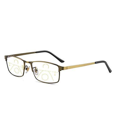Moda Gafas De Sol Progresivas Multi-Focus Gafas De Lectura para Hombres Mujeres Anti-Blue Light Near Far Gafas De Lectura Anti-Radiación Gafas De Metal Amarillo