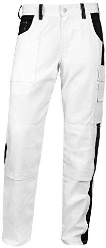 strongAnt - Malerhose komplett Stretch Stuckateur Putzer Arbeitshose Weiß mit Kniepolstertaschen - Made in EU - Weiß/Schwarz 58