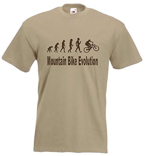 Evolution to Mountain Bike t-shirt divertente MTB bicicletta t-shirt taglie S a XXL Marrone chiaro L (112 cm)