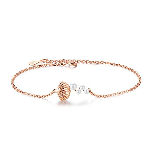 hongbanlemp Pulseras para mujer de plata de ley con perlas de agua dulce, pulsera para mujer, collar de joyería de cristal, joyería ajustable (dos estilos) pulsera joyería (color: A)