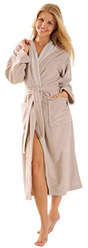 Morgenstern Bademantel Damen lang mit Kapuze in Beige Geena Duschmantel Duschbademantel Damenbademantel einfarbig Frauen XL Morgenmantel