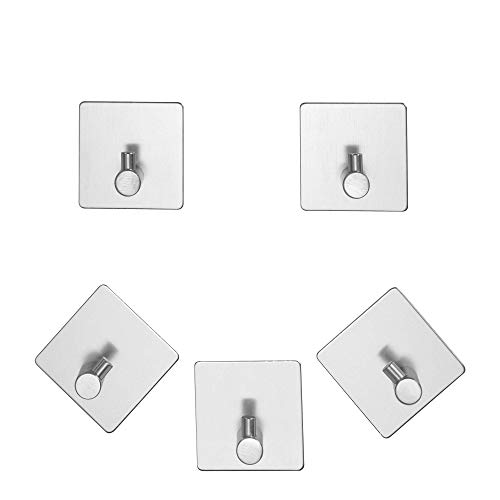 LVKH 5 Towel and Robe Hooks - Adhesive Bathroom Hook Set - (Metal)
