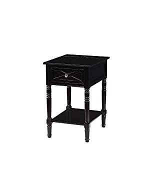 Convenience Concepts Country Oxford End Table with Charging Station Black