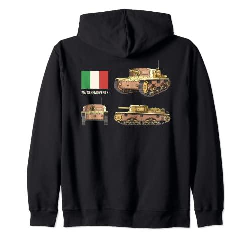 Tanque italiano autopropulsado 75/18 Bandera Italiana Sudadera con Capucha