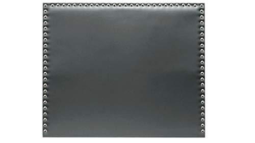 Cabecero de Cama tapizado en Polipiel y con Tachuelas en Color Plata Altura 120cm. Color Ceniza. para Cama de 180 (Medidas 190x120x8) Pro Elite.