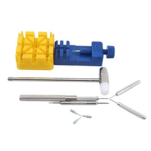 Gjtzj 11pcs Watch Repair Link Link Removedor Tool Desasmbler Hammer Pines Strap Soporte Pulsera Cadena Ajustador Kit