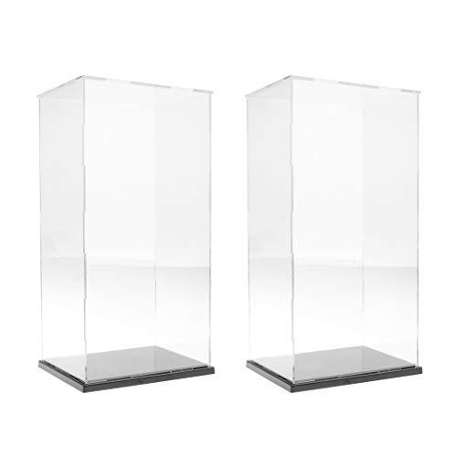 Milageto Expositor transparente grande 2 piezas para figuras de protección, modelo 19 x 15 x 37 cm