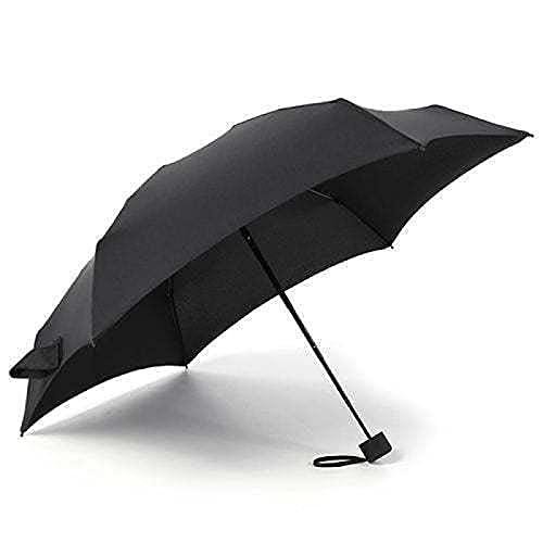 WANGPING Paraguas cápsula usable en días soleados y lluviosos, paraguas plano 6 solapas protección UV se puede tomar contigo sin ocupar espacio, verde-17 cm, Black,
